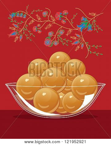 an illustration of a bowl of gulab jamun an indian dessert on a red background with asian flower decoration