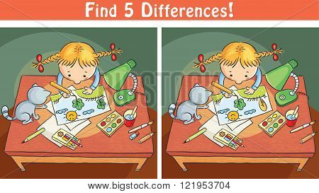 Find differences game with a cartoon girl drawing a picture colorful