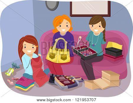 Stickman Illustration of Girls Working on Different Crafts