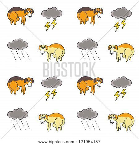 Homeless dogs outside in bad weather seamless pattern.