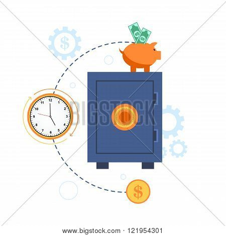 Illustration of safe deposit box with money and clock