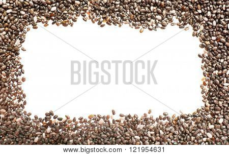 Frame of chia seeds on white background