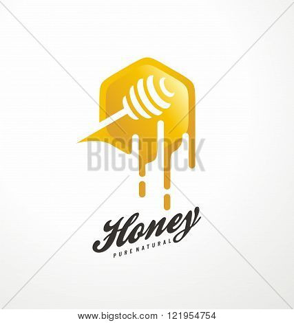 Honey symbol design concept. Creative logo design idea with honey and dipper in negative space. Vector icon template.