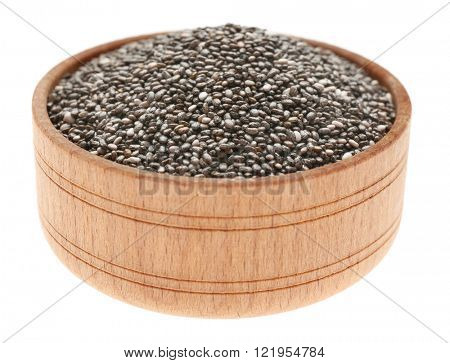 Chia seeds in a wooden bowl  isolated on white background