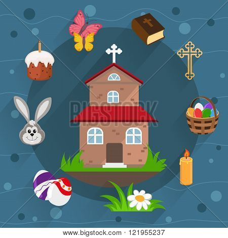 Church Holy Bible basket with eggs and other Easter icons in flat style on a blue background
