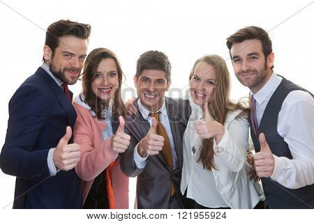 teamwork, successful  business team with thumbs up