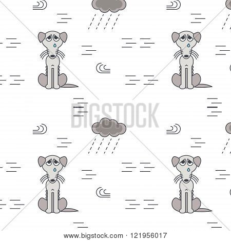 Poor homeless dogs outside in bad weather seamless pattern.