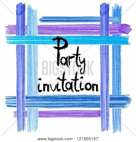 Watercolor brush strokes card. Artistic creative universal card. Colorful watercolor pencil brushstrokes. Wedding, birthday, party invitation. Blue, indigo and lilac