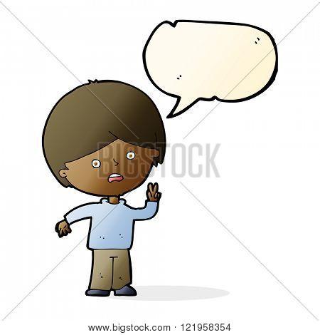 cartoon unhappy boy giving peace sign with speech bubble