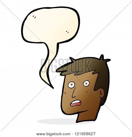 cartoon unhappy face with speech bubble