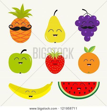 Fruit berry set. Cartoon character face mustache. Banana cherry strawberry orange pineapple grape lemon cherry mellon watermellon blueberry apple Isolated Flat Vector illustration