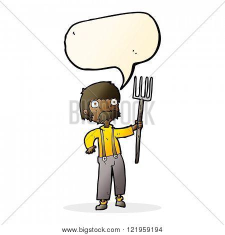 cartoon farmer with pitchfork with speech bubble