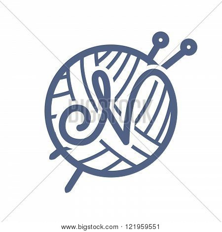 N Letter Logo With Skein Of Yarn And Knitting Needles.