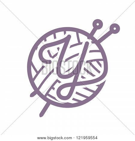 Y Letter Logo With Skein Of Yarn And Knitting Needles.Vintage font style vector design template elements for your yarn shop or corporate identity.