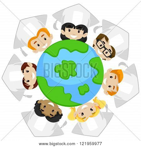 Vector Illustration of Kids Earth Diversity wearing Graduation Cap