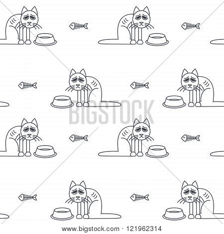 Poor unhappy skinny cats around empty bowls. Vector line seamless pattern black on white background.