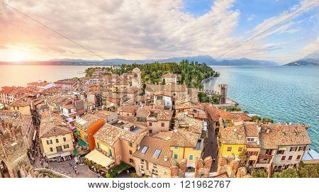 Panoramic aerial view on historical town Sirmione on peninsula in Garda lake Lombardy Italy
