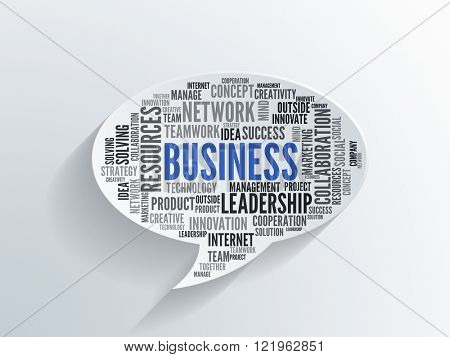 Business word cloud with a diversity of business themed words in assorted texts on a 3d paper speech bubble with shadow over textured paper