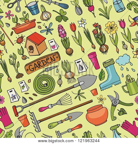 Spring garden seamless pattern.Hand drawn flowers, bulb, garden tool, boarding equipment background.Vector garden sketch elements.Spring Gardening , planting spring symbols, seedlings, vintage vector elements