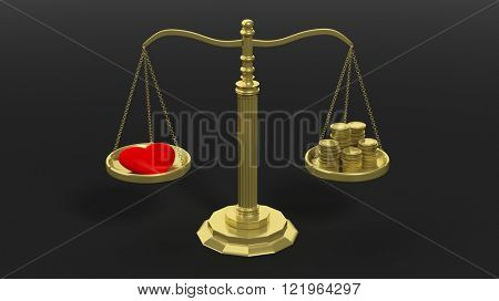 Golden scales balancing with pile of coins and red heart against of black background