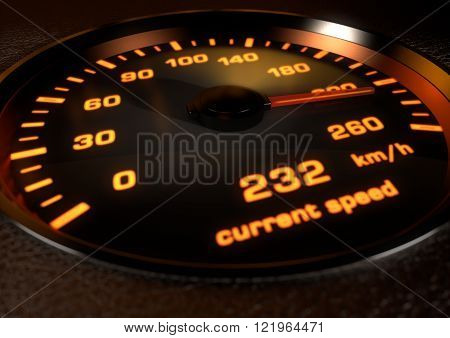 Car speedometer with bright orange illuminated dials inset in dark leather with depth of field. Image showing car speedometer needle at 232 kilometers an hour.