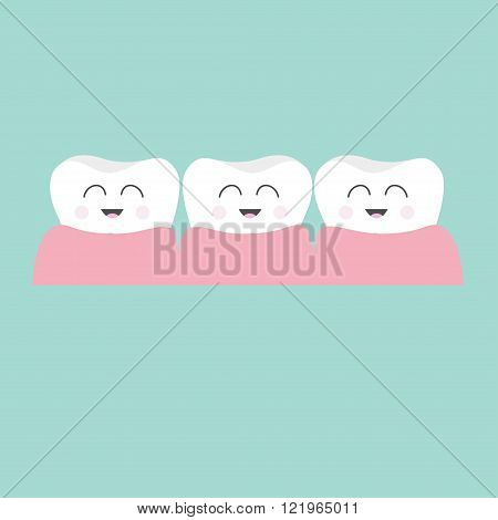 Tooth gum icon. Three cute funny cartoon smiling character set. Oral dental hygiene. Children teeth care. Tooth health. Baby background. Flat design. Vector illustration