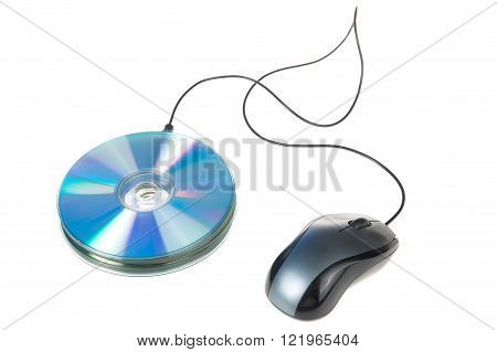 Cd ,dvd, Mouse  Isolated On A White Background