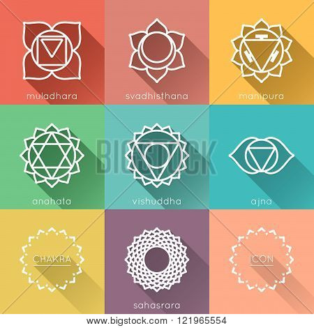 Set of flat chakras icons with shadow