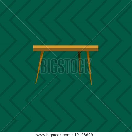 Wooden Table in living room flat icon