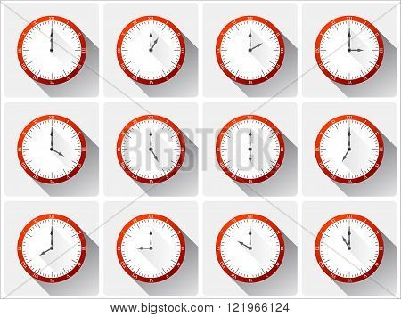 Twelve different vector clocks with shadows in red color.