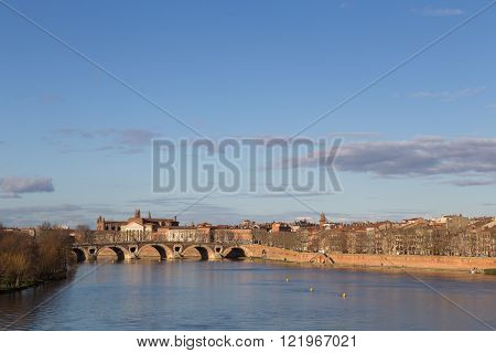 View over Garonne River towards Pont Neuf in Toulouse