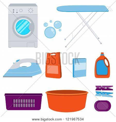Icons set laundry. Washing machine and laundry detergent. Vector illustration