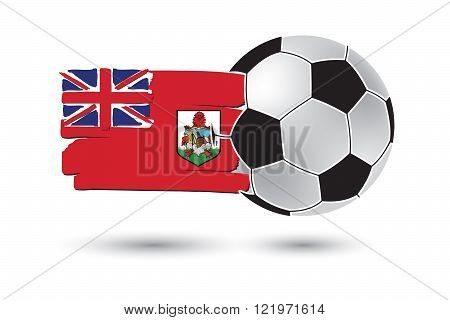 Soccer ball and Bermuda Flag with colored hand drawn lines