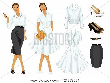 Vector illustration of woman worker in formal clothes and woman on holiday in elegant white dress. Elegant white dress, white blouse, dark grey skirt, beige and black shoes, black belt