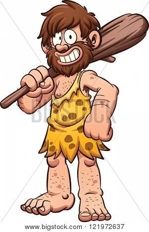 Cartoon caveman smiling and carrying a big club. Vector clip art illustration with simple gradients. All in a single layer.