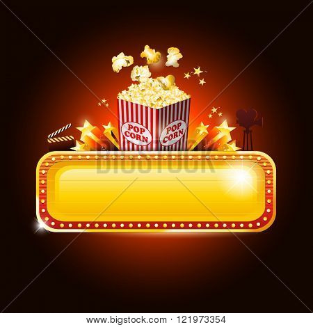 Golden movie theater banner sign with pop corn and copy space