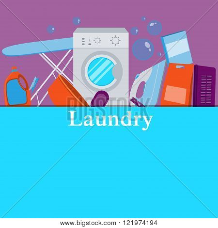Poster laundry. Washing machine and laundry detergent. Vector illustration