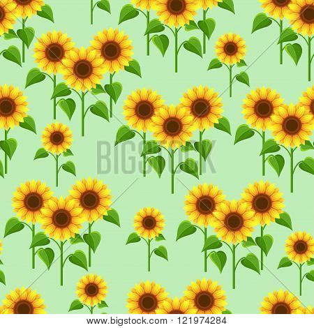 Beautiful nature green seamless pattern with yellow orange sunflowers. Floral bright background with stylized summer flowers. Trendy stylish wallpaper. Vector illustration