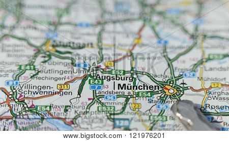 Closeup of the region of Munich, München on a colored map, keys.  ** Note: Shallow depth of field