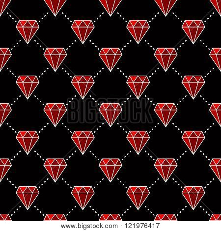 Gemstones are forever, Seamless pattern with red gemstones. Vector illustration on black background