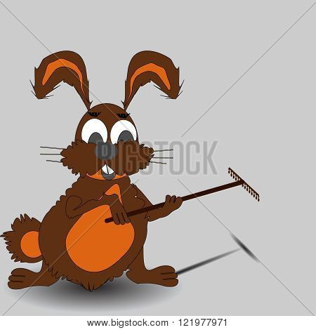 Easter Bunny the gardener with a rake vector illustration,organic, plant, rabbit, rakes, rural,
