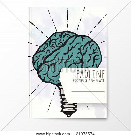 Notebook template with hand drawn brain concept.