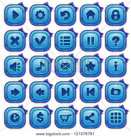 Cute cartoon blue square buttons set