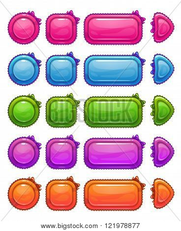 Cute colorful glossy girlie buttons