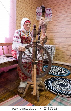 Dukhovshchina, Russia - august 15, 2012: Imitation of rural life in the Russian hut, Dukhovshchina