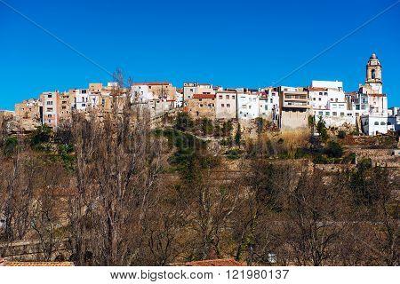 La Senia skyline typical Catalan town. Province of Tarragona. Spain