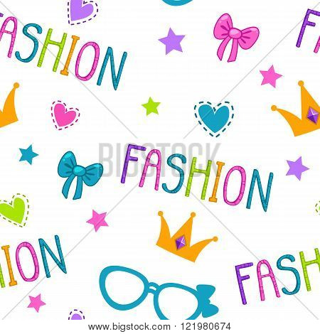 Cute seamless pattern with fashion lettering