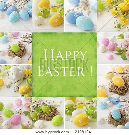 colorful easter eggs and spring flowers collage