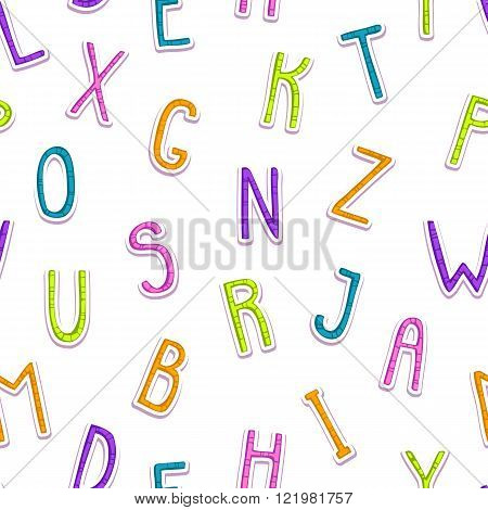 Seamless pattern with funny doodle letters