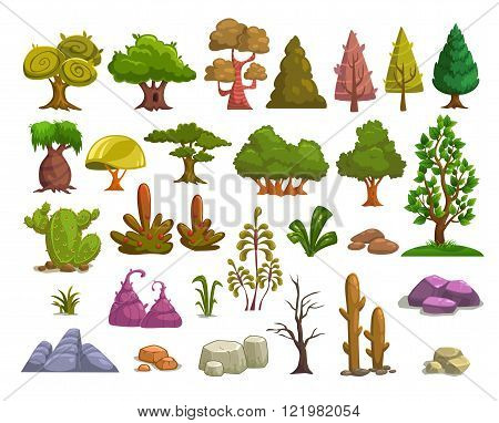 Cartoon nature landscape elements